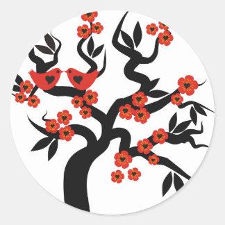 Red black Love birds sakura cherry tree & Blossoms Classic Round Sticker
