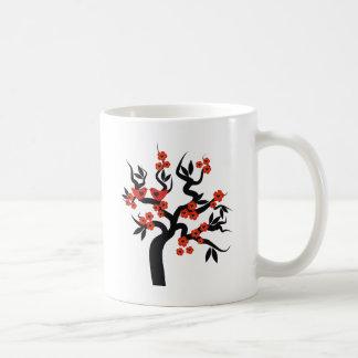 Red black Love birds sakura cherry tree & Blossoms Coffee Mug