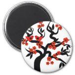Red black Love birds sakura cherry tree & Blossoms Fridge Magnets