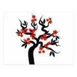 Red black Love birds sakura cherry tree & Blossoms Postcards