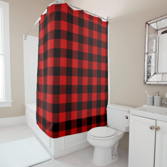 Red Black Lumberjack Buffalo Plaid Shower Curtain