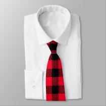 Red Black lumberjack pattern tie