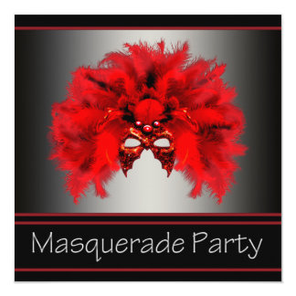 Red Black Mask Masquerade Party Card