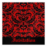"""Red Black Masquerade Halloween Party Invitation 5.25"""" Square Invitation Card"""