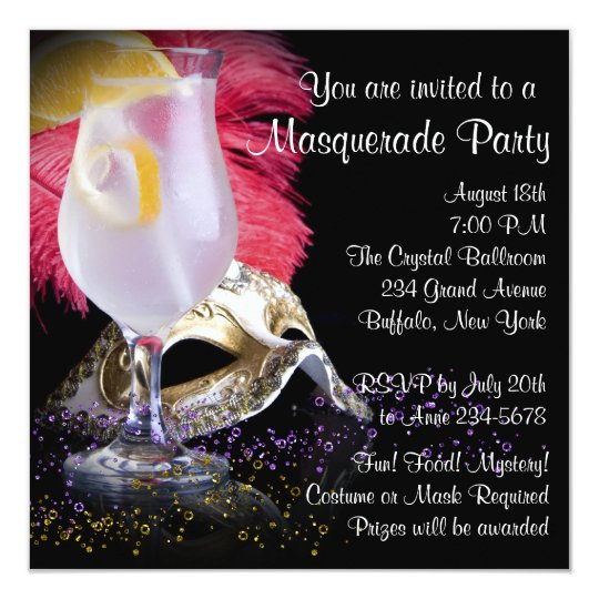 Red Black Masquerade Party Invitations