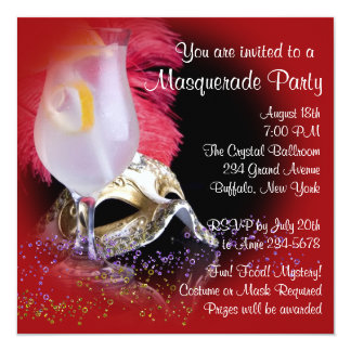Red Black Masquerade Party Invitations