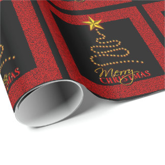 Red Black Merry Christmas Tree Gift Wrapping Paper