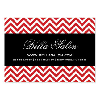 Red & Black Modern Chevron Stripes Large Business Card