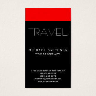 Red Black Modern Simple Travel Agent Business Card
