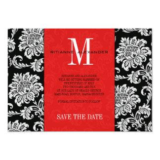 Red Black Monogram Damask Wedding Save The Date Card