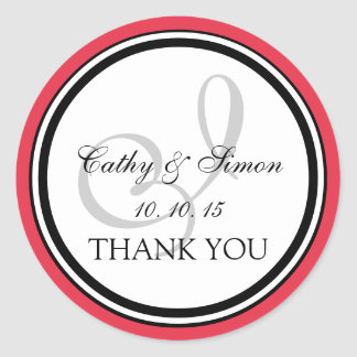 Red Black Monogram I Wedding Thank You Sticker