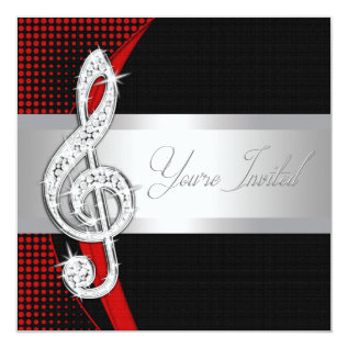 Red Black Music Treble Clef Recital Invitations at Zazzle