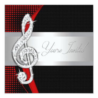 Red Black Music Treble Clef Recital Invitations