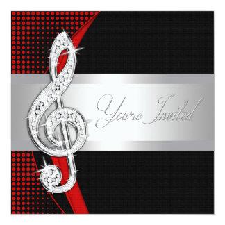 Red Black Music Treble Clef Recital Invitations