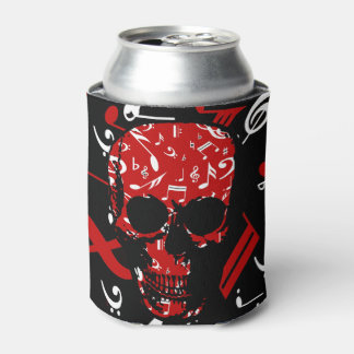Red Black Musical notes skull Can Cooler