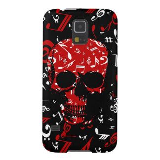 Red Black Musical notes skull Galaxy S5 Cases