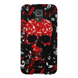 Red Black Musical notes skull Galaxy S5 Cover