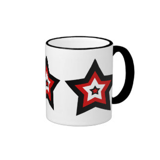 Red black n white star mug