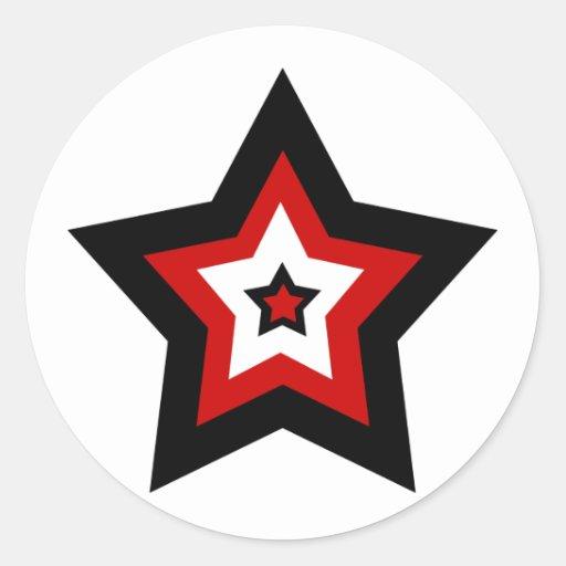 Red black n white star stickers round sticker