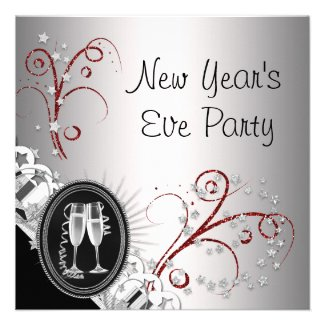 Red Black New Years Eve Party Invitations
