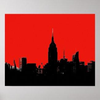 Red Black New York City Silhouette Pop Art Poster