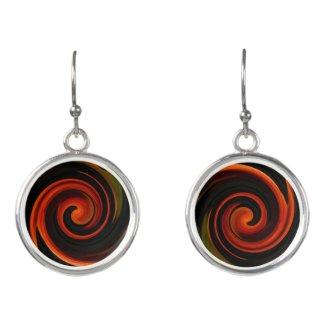 Red Black Orange Spiral Abstract Drop Earrings