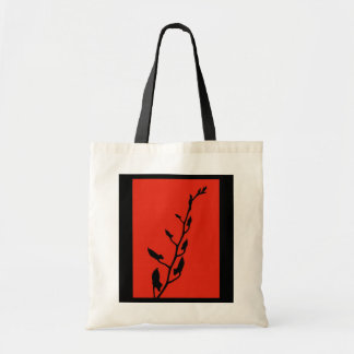 Red & Black Orchid Sillhouette Tote