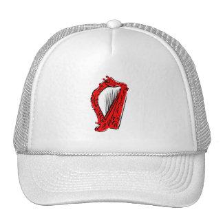 red black ornate harp music design.png trucker hat