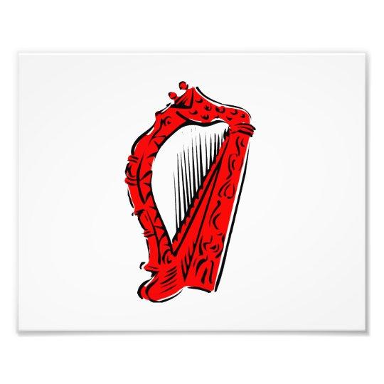 red black ornate harp music design.png photo print