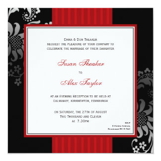 Red & Black Ornate Pattern Wedding Invitation