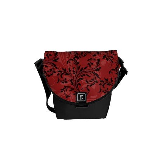Red Black Ornate Scrolls Mini Messenger Bag