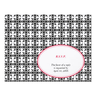 Red black oval lace preppy wedding response RSVP Card
