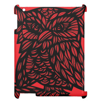 Red Black Owl Artwork Drawing Cover For The iPad 2 3 4