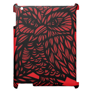 Red Black Owl Artwork Drawing Case For The iPad