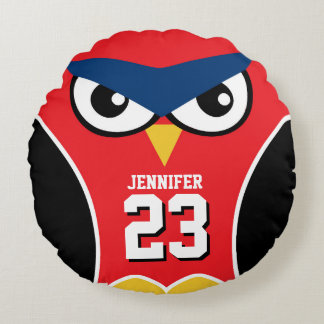 Red Black Owl Bird Cartoon Sports Team Pillow