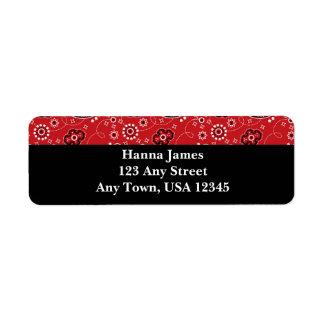 Red Black Paisley Bandana Print Personalized Label