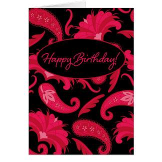 Red & Black Paisley Happy Birthday Greeting Card