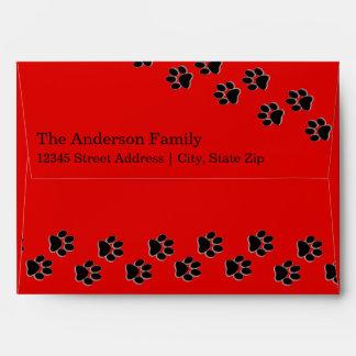 Red/Black Paw Print - Envelope