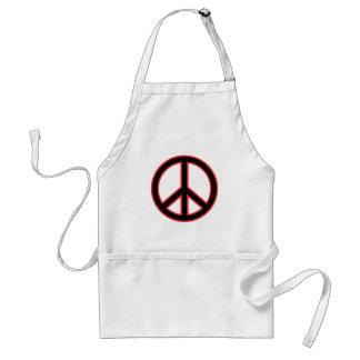 Red & Black Peace Symbol Adult Apron