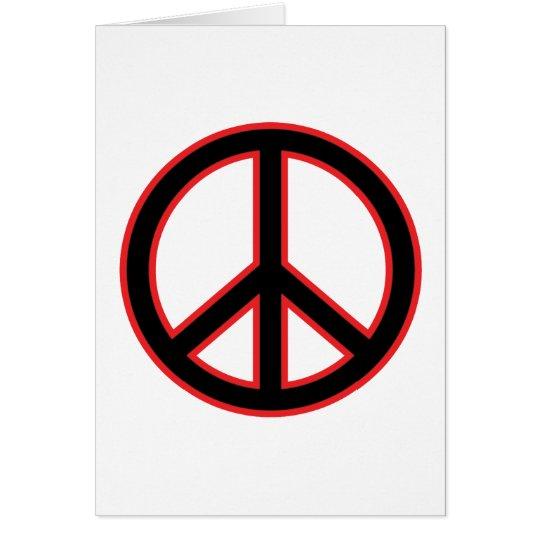 Red & Black Peace Symbol Card