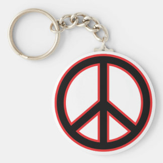 Red & Black Peace Symbol Keychain