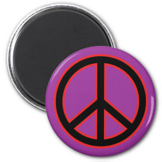 Red & Black Peace Symbol 2 Inch Round Magnet