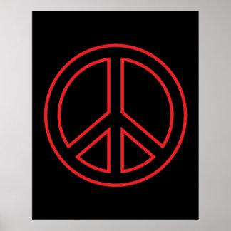 Red & Black Peace Symbol Poster