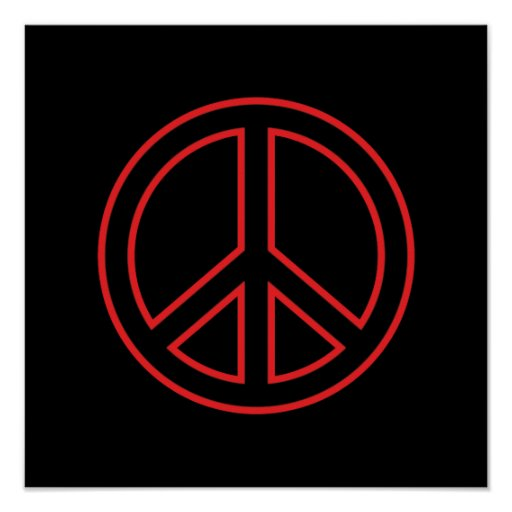 Red & Black Peace Symbol Poster