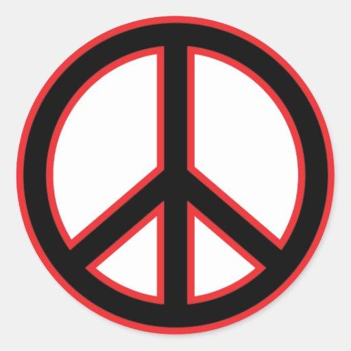 Red & Black Peace Symbol Stickers