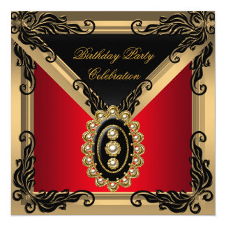 Red Black Pearl Gold Birthday Party 5.25x5.25 Square Paper Invitation Card