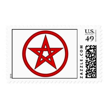 Red & Black Pentacle Postage