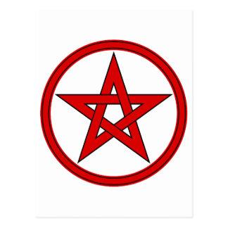 Red & Black Pentagram Postcard