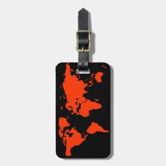 red&black personalizado mapa del mundo etiquetas para maletas