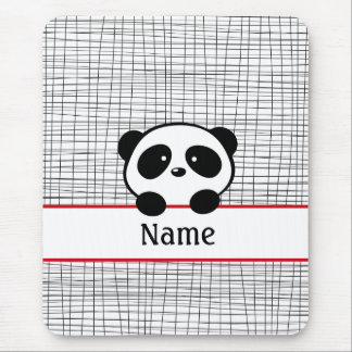 Red Black Personalized Panda Mousepad
